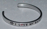 I Love My Saint Bernard   |  Engraved Handmade Bracelet by: Say It and Wear It Jewelry - #love