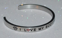 I Love My Scottish Terrier   |  Engraved Handmade Bracelet by: Say It and Wear It Jewelry - #love