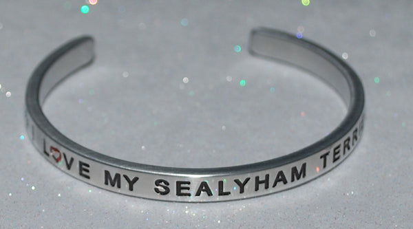 I Love My Sealyham Terrier   |  Engraved Handmade Bracelet by: Say It and Wear It Jewelry - #love