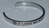 I Love My Sheltie Sheepdog    |  Engraved Handmade Bracelet by: Say It and Wear It Jewelry - #love