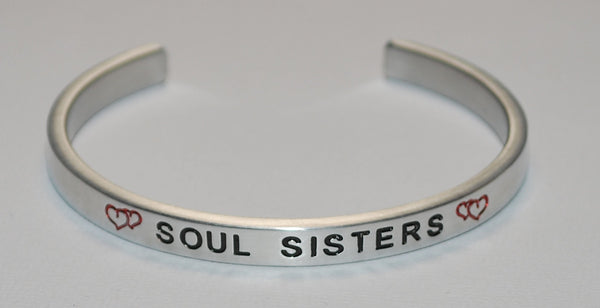 Soul Sisters with Double Hearts  |  Engraved Handmade Bracelet by: Say It and Wear It Jewelry - #love