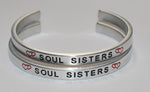 Soul Sisters with Double Hearts Set  |  Engraved Handmade Bracelet by: Say It and Wear It Jewelry - #love