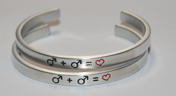 Male Gay Symbols  |  Engraved Handmade Bracelet by: Say It and Wear It Jewelry - #love