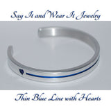 Thin Blue Line with Hearts