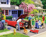 Jigsaw Puzzle Image - 1000 pc father and son fixing a car