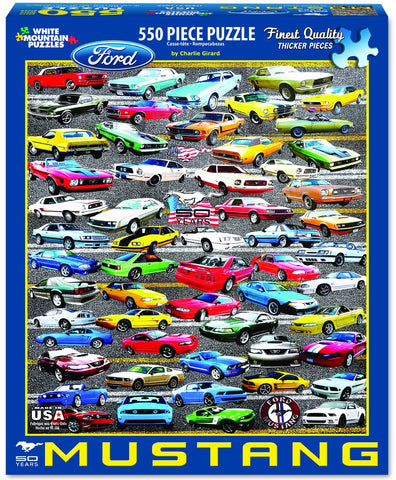 Jigsaw Puzzle Front Box Image - 550 pc Mustangs Classic Cars