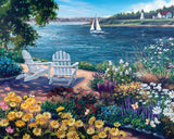 Jigsaw Puzzle Image - 1000 piece adirondack chairs, flowers, lakeside