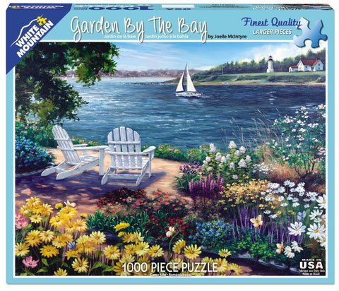 Jigsaw Puzzle Front Box Image - 1000 pc Flowers, Lake, Lighthouse