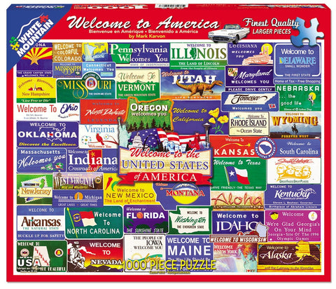 Jigsaw Puzzle Front Box Image - 1000 pc Welcome State Road Signs