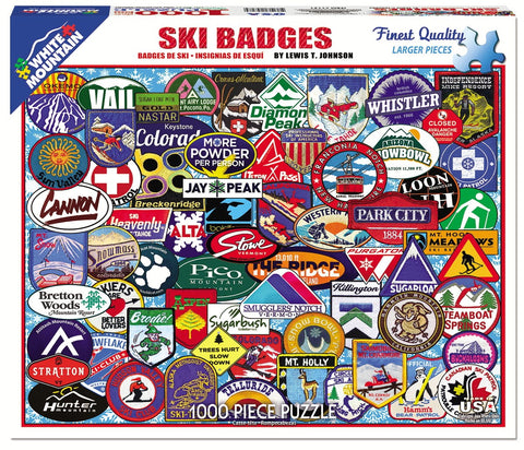 Jigsaw Puzzle Front Image - 1000 pc Collage of Ski Badges