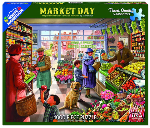 Jigsaw Puzzle Front Box Image - 1000 pc customers shopping in the market