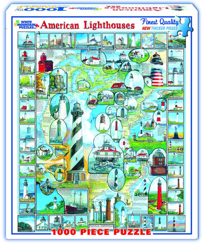 AMERICAN LIGHTHOUSES - 1000 Piece Jigsaw Puzzle - Games2Puzzles