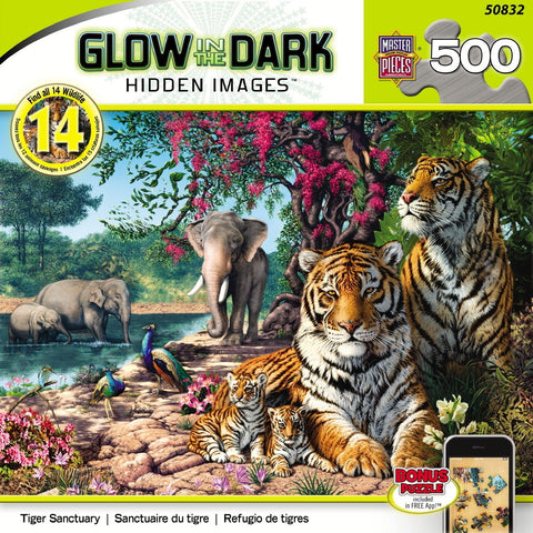 Glow in the Dark - Hidden Images - Tiger Sanctuary - 500 Piece Jigsaw Puzzle
