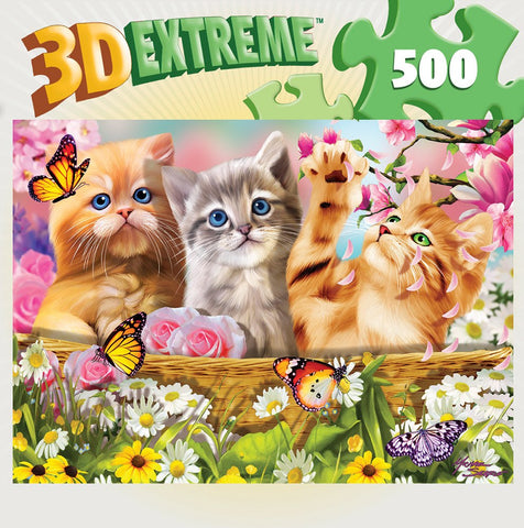 3D Extreme Lenticular - Cuddly Kittens - 500 Piece Jigsaw Puzzle - Games2Puzzles