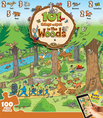 101 Things to Spot in the Woods - 100 Piece Jigsaw Puzzle - Games2Puzzles