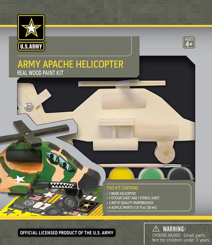 US Army Apache Helicopter- Wood Painting Kit