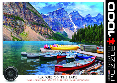 Canoes on the Lake - 1000 Piece Jigsaw Puzzle - Games2Puzzles