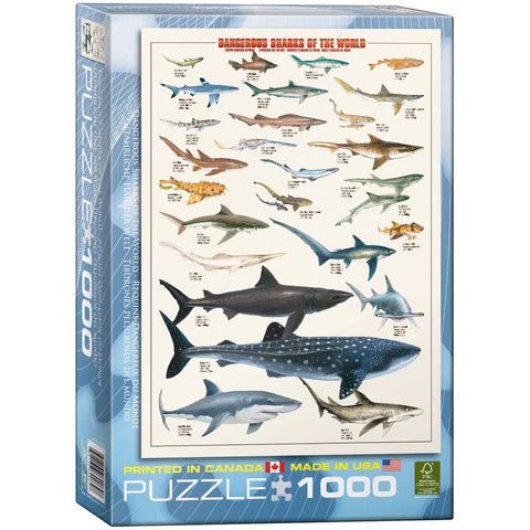 Dangerous Shark of the World - 1000 Piece Jigsaw Puzzle