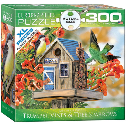 Trumpet Vines & Tree Sparrows - 300 Piece Jigsaw Puzzle
