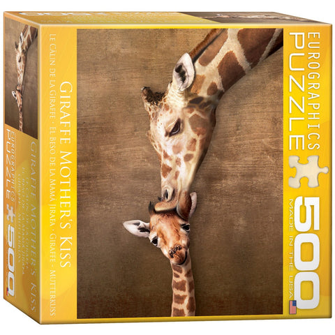 Giraffe Mother's Kiss - 500 Piece Jigsaw Puzzle