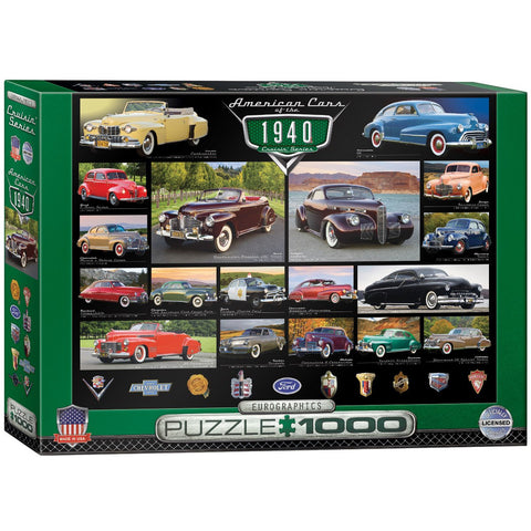 American Cars of the 1940's - 1000 Piece Jigsaw Puzzle - Games2Puzzles