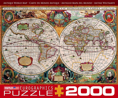 Antique World Map - 2000 Piece Jigsaw Puzzle - Games2Puzzles