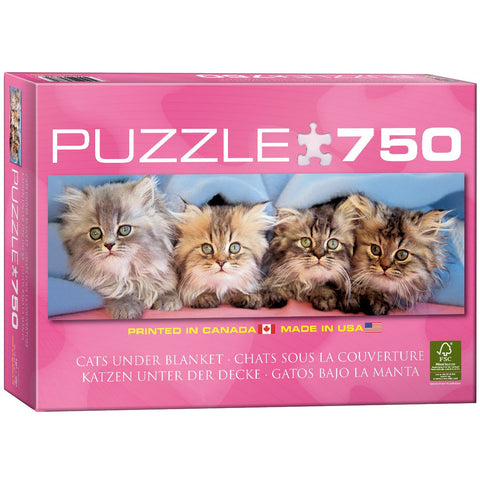 Cats Under Blanket - 750 Piece Jigsaw Puzzle - Games2Puzzles