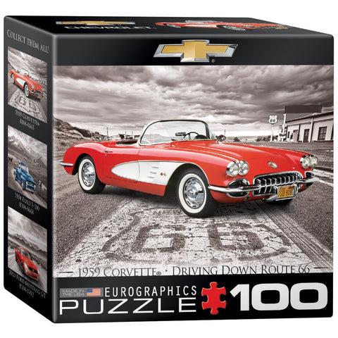 1959 Corvette - Driving Down Route 66 - 100 Piece Mini Jigsaw Puzzle