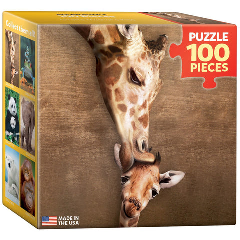 Giraffe Mother's Kiss - 100 Piece Mini Jigsaw Puzzle