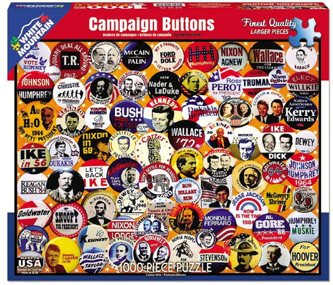 Campaign Buttons - 1000 Piece Jigsaw Puzzle - Games2Puzzles