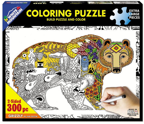 Grizzly - 300 Piece Coloring Jigsaw Puzzle