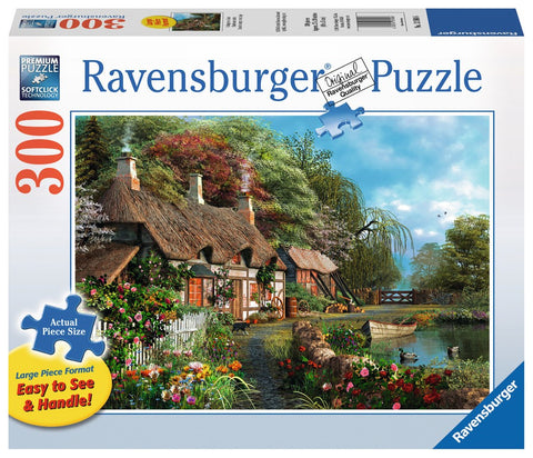 Cottage on a Lake - 300 Large Piece Jigsaw Puzzle