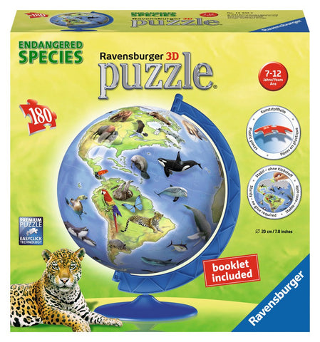 World's Endangered Species Globe - 180 Piece 3D Jigsaw Puzzle