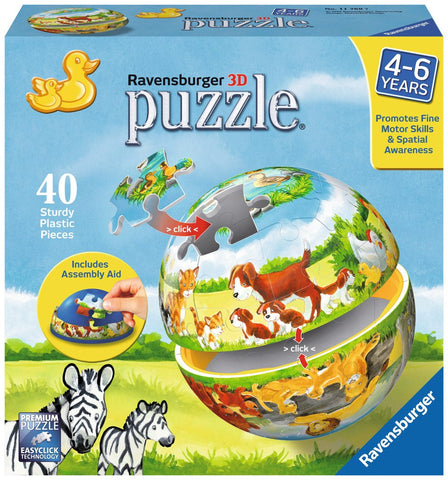 Animals and their Babies - 40 Piece 3D Jigsaw Puzzle - Games2Puzzles