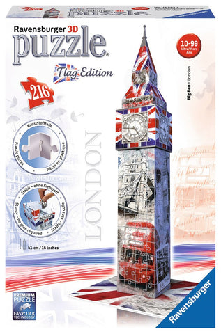 Big Ben - Flag Edition - 216 Piece 3D Jigsaw Puzzle - Games2Puzzles
