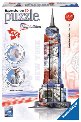 Empire State Building - Flag Edition - 216 Piece 3D Jigsaw Puzzle