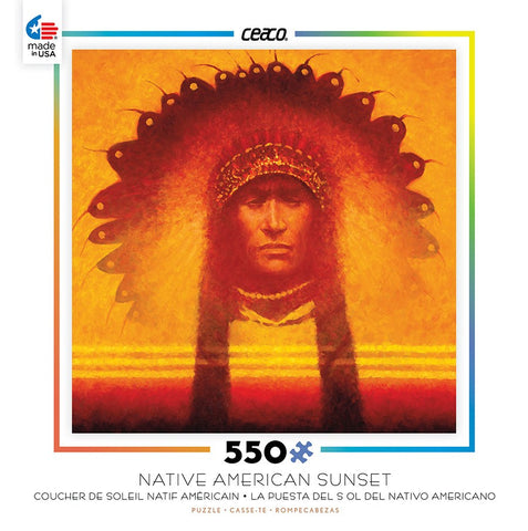 Native American Sunset - New Leader - 550 Piece Jigsaw Puzzle