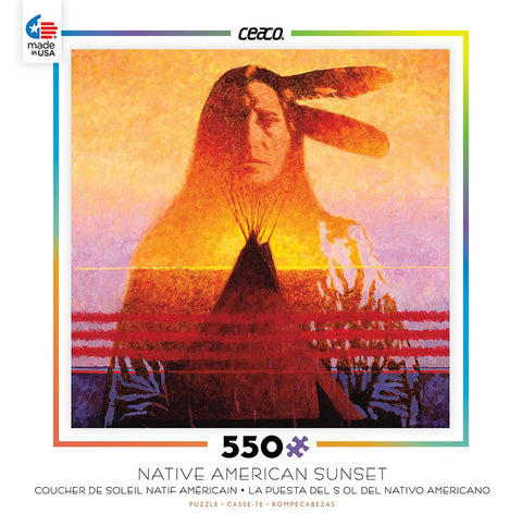 Native American Sunset - Two Feathers - 550 Piece Jigsaw Puzzle