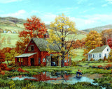 Jigsaw Puzzle Image - 1000 pc Countryside, Barn, Autumn Scene