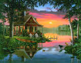 Jigsaw Puzzle Image - 1000 pc lake, cottage, sunset