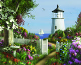 Jigsaw Puzzle Image - 1000 pc featuring lighthouse, flowers