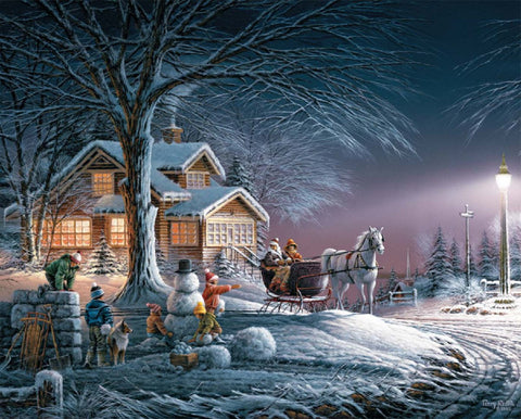 Jigsaw Puzzle Image - 1000 pc Winter Scene, Snowman, Kids playing
