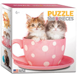 Kitten in a Cup - 100 Piece Mini Jigsaw Puzzle