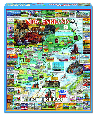Jigsaw Puzzle Front Box Image - 1000 pc Map of New England
