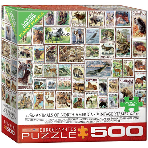 Vintage Stamps - Animals of North America - 500 Piece Jigsaw Puzzle