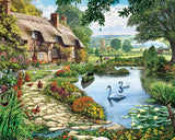 Jigsaw Puzzle Image - 1000 pc cottage, pond, flowers