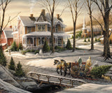 Jigsaw Puzzle Image - 1000 pc countryside village, snow, sleigh ride