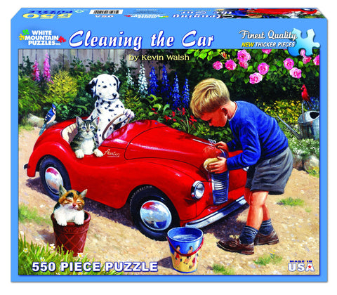 Jigsaw Puzzle Front Box Image - 550 pc Boy cleaning the car
