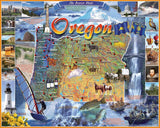 Jigsaw Puzzle Image - 1000 pc map of state of Oregon, local attractions