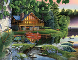 Jigsaw Puzzle Image - 1000 pc cottage, lake, boat, woods